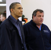 President Obama and New Jersey Gov. Chris Christie at the Brigantine Beach Community Center in Brigantine, N.J., where they met with local residents displaced by Sandy.