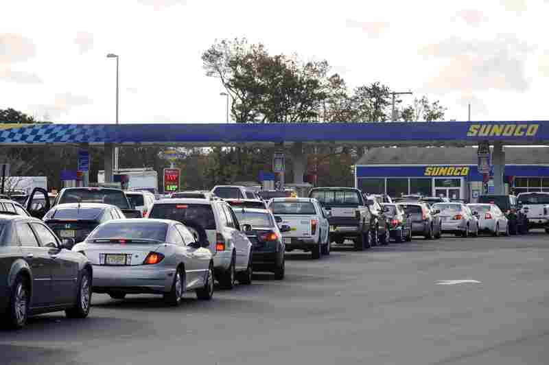 Lines form at a Sunoco gas station at a rest stop on the Garden State Parkway in New Jersey.