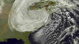 A satellite's view of Hurricane Sandy as it moves inland, Oct. 30, 2012.