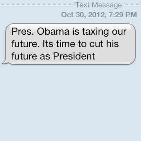 A screenshot of an anti-Obama text message received Tuesday evening.