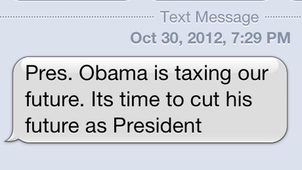 A screenshot of an anti-Obama text message received Tuesday evening. (NPR)