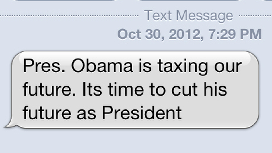 A screenshot of an anti-Obama text message received Tuesday evening. (NPR)