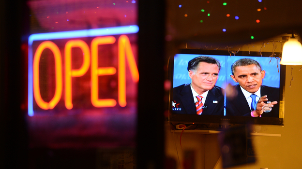 The debate between President Obama and Republican challenger Mitt Romney is seen on a TV in a Korean restaurant Oct. 22 in Los Angeles, Calif. (AFP/Getty Images)