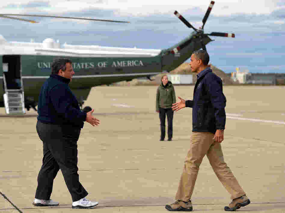 President Obama is greeted by New Jersey Gov. Chris Christie upon arriving in Atlantic City, N.J., on Wednesday to visit areas hardest hit by Superstorm Sandy.