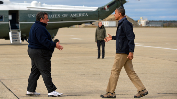 President Obama is greeted by New Jersey Gov. Chris Christie upon arriving in Atlantic City, N.J., on Wednesday to visit areas hardest hit by Superstorm Sandy. (AFP/Getty Images)