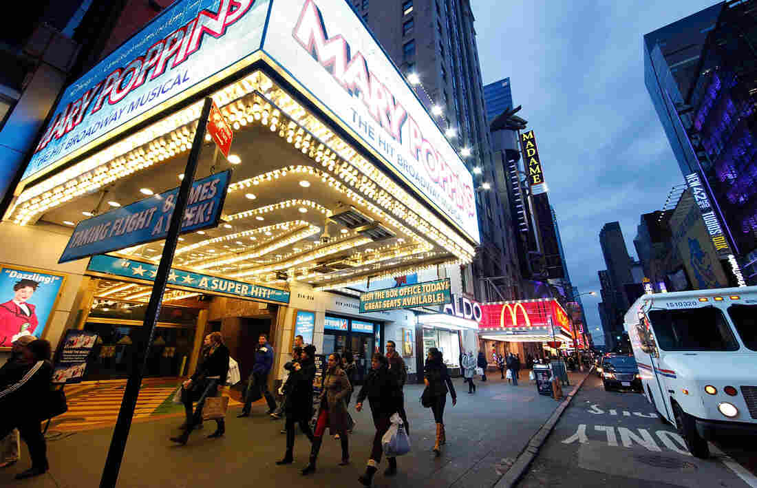 Superstorm Sandy starting hitting New York on Monday. By Wednesday, life had returned to the Time Square theater district.