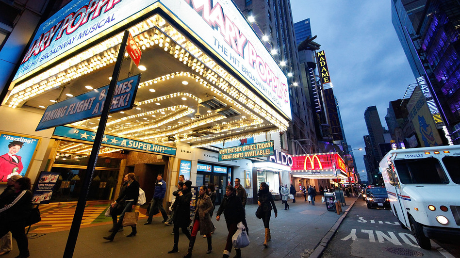 Superstorm Sandy starting hitting New York on Monday. By Wednesday, life had returned to the Time Square theater district. (Getty Images)
