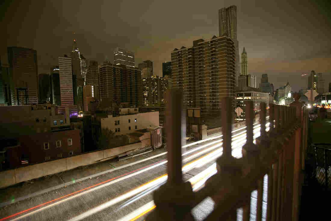 Downtown Manhattan, seen from the Brooklyn Bridge.