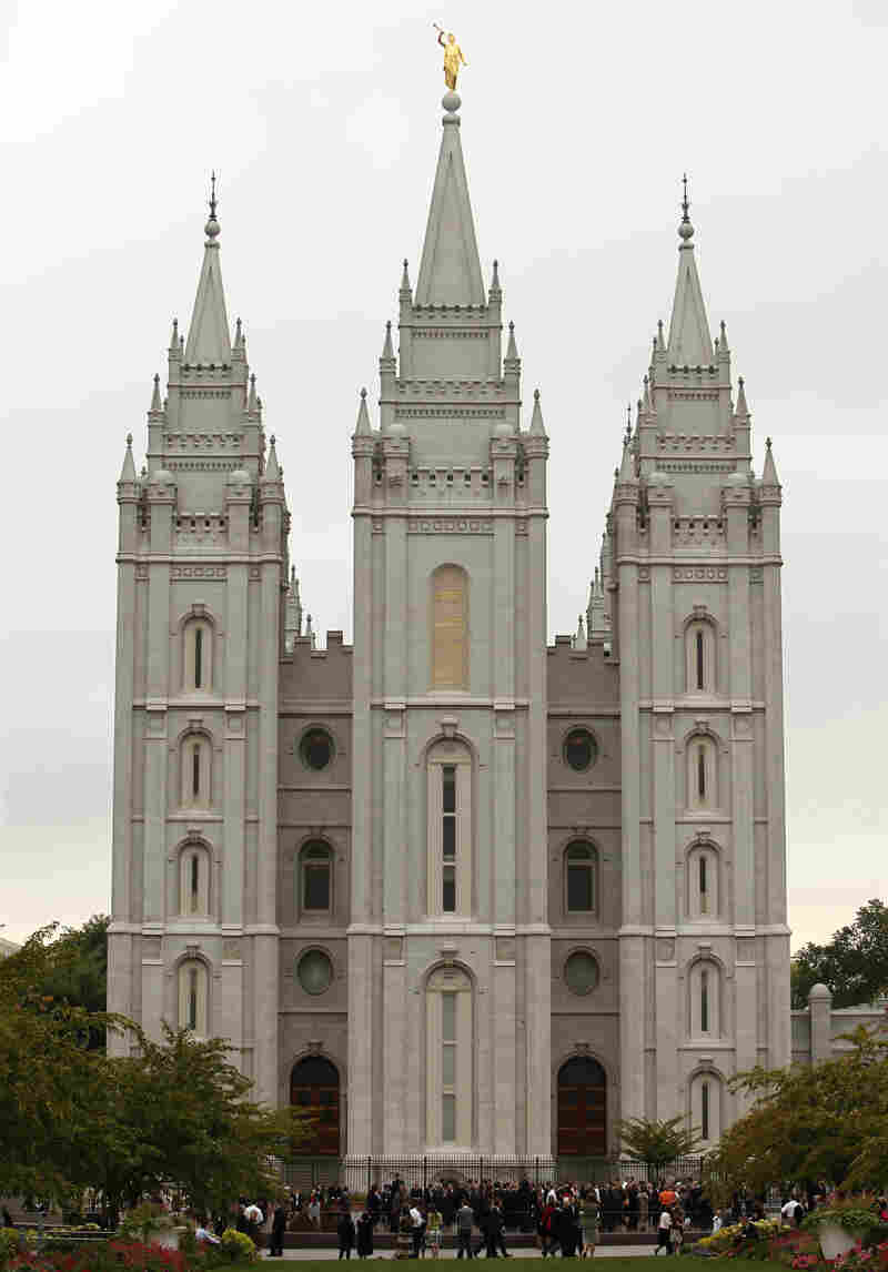 The Mormon Salt Lake temple in Salt Lake City.