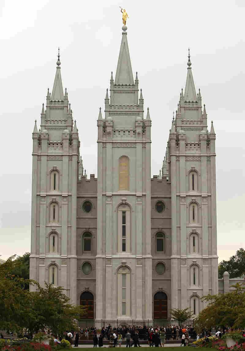 The Mormon Salt Lake temple in Salt Lake City.