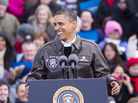 President Obama campaigns Thursday in Green Bay, Wis.