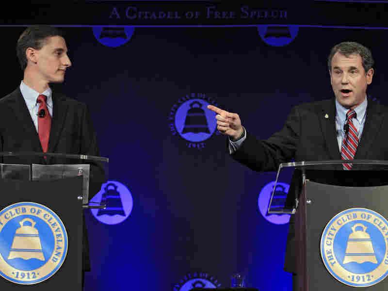 U.S. Sen. Sherrod Brown (right), D-Ohio, debates his Republican challenger, Ohio state Treasurer Josh Mandel, at the City Club in Cleveland on Oct. 15.