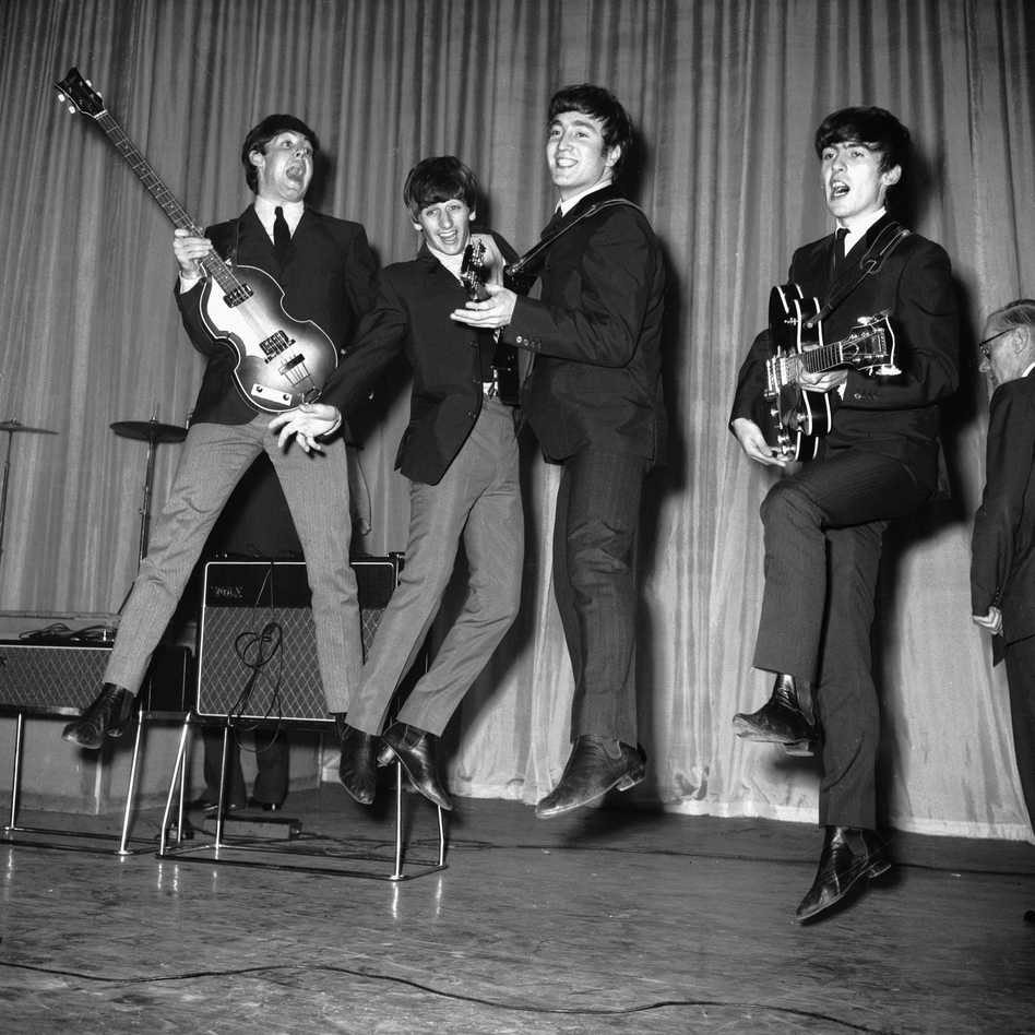 The Beatles rehearse for that night's Royal Variety Performance at the Prince of Wales Theatre in 1963. (Central/Hulton Achive/Getty Images)
