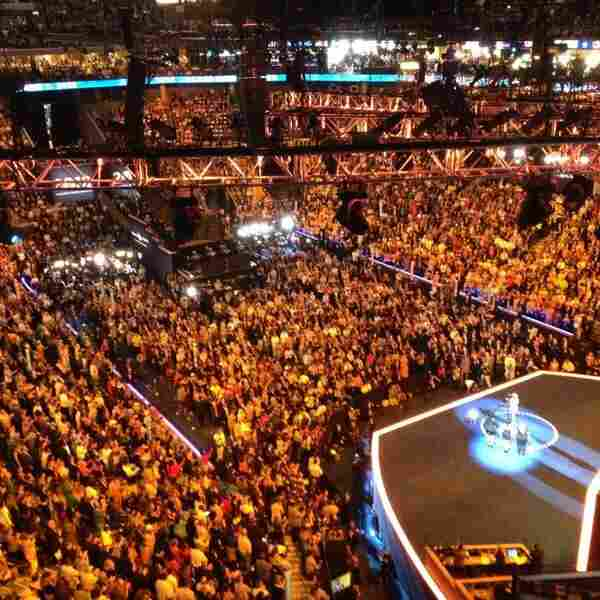 On the final night of the Democratic National Convention, Washington Correspondent Liz Halloran captured this full-house stadium shot during singer Mary J. Blige's performance.