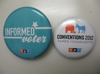 Designed by our very own NPR Creative Services team, these NPR's election buttons were tweeted by National Desk Reporter Jeff Brady while at the Republican National Convention in Tampa, Fla.