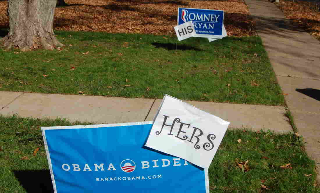 "Rick and Cindy Oleshak of Webster Groves, Mo., put up ""his"" and ""hers"" yard signs about a week ago. They say they can no longer watch presidential debates together."