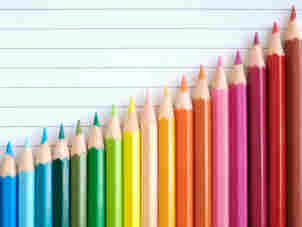 Colored pencils make up a graph.