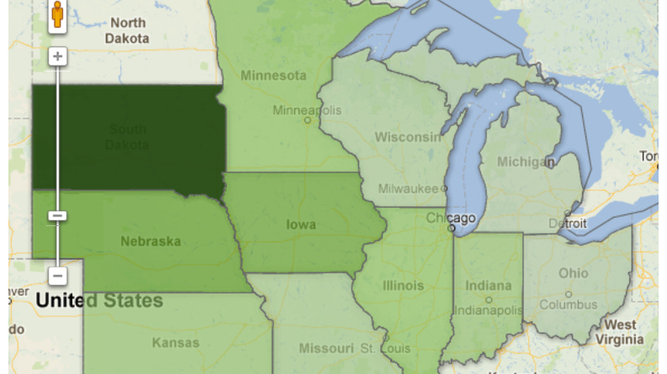 """Click the map to see how the price of farmland has gone up. Produced by <a href=""""http://harvestpublicmedia.org/"""">Harvest Public Media</a>."""