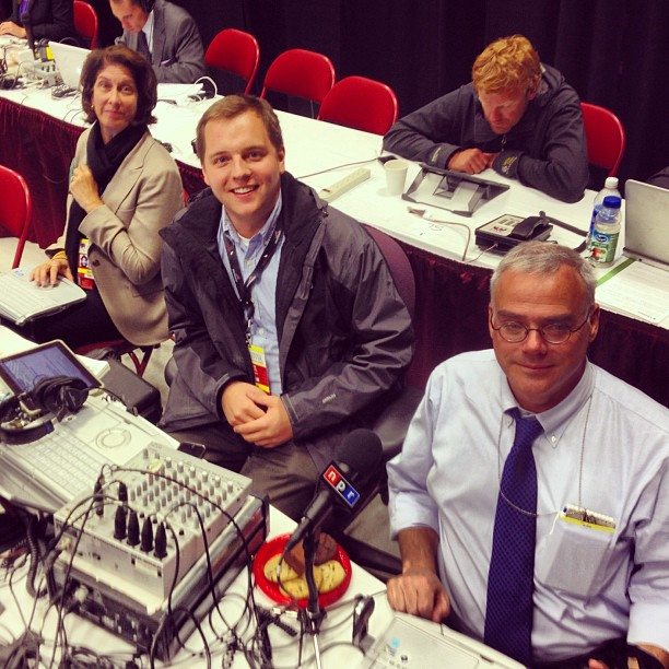 NPR's Elections team geared up for hours of live coverage at the first presidential debate in Denver, Co.: (l-r) Washington Desk Correspondent Mara Liasson, Assistant Producer Arnie Seipel and White House Correspondent Scott Horsley posed for this snapshot tweeted by White House Correspondent Ari Shapiro.