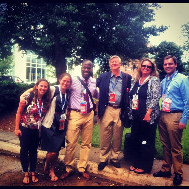 Pictured here are staff from NPR's Elections team heading to the Democratic National Convention in Charlotte, N.C.: (l-r) Booker Natalie Friedman, Producer Evie Stone, Reporter Sonari Glinton, Editor Ron Elving, Correspondent Debbie Elliott and Assistant Producer Arnie Seipel.