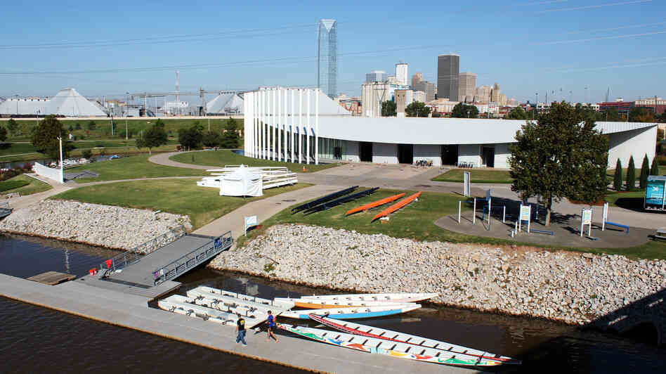 Rowers return to the Chesapeake Energy Boathouse after training on the river near downtown Oklahoma City. The riverfront recreation area is one of the most visible examples of the city's sales tax initiatives in action.