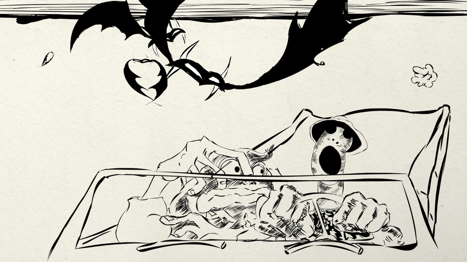 Among his many accomplishments, Ralph Steadman illustrated Hunter S. Thompson's 1971 novel, Fear and Loathing in Las Vegas, about a journalist's reporting trip turned hallucinogenic bender. (Courtesy of Itch Film)