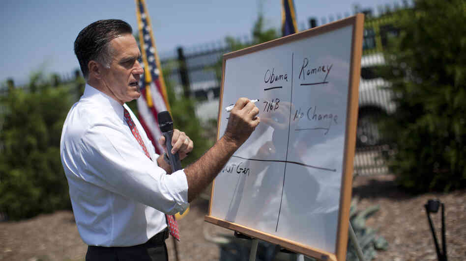 Republican presidential candidate Mitt Romney makes his case about Medicare during a briefing in South Carolina in August.