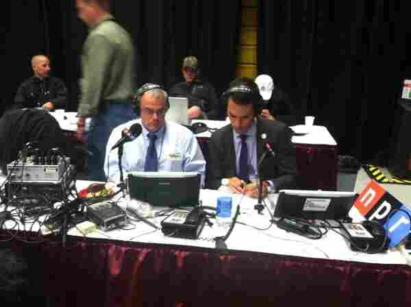 As the first presidential debate was underway in Denver, Co., Assistant Producer Arnie Seipel took this photo of White House Correspondents (l to r) Scott Horsley and Ari Shapiro deep into fact-checking.