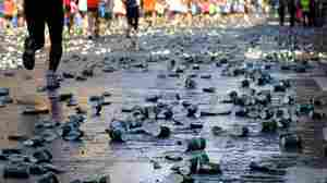 This image, from the 2011 ING New York City Marathon, shows the aftermath of the runners' passage.
