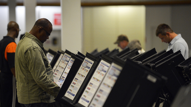 People cast their ballots at an early-voting center in Columbus, Ohio, on Oct. 15. (AFP/Getty Images)