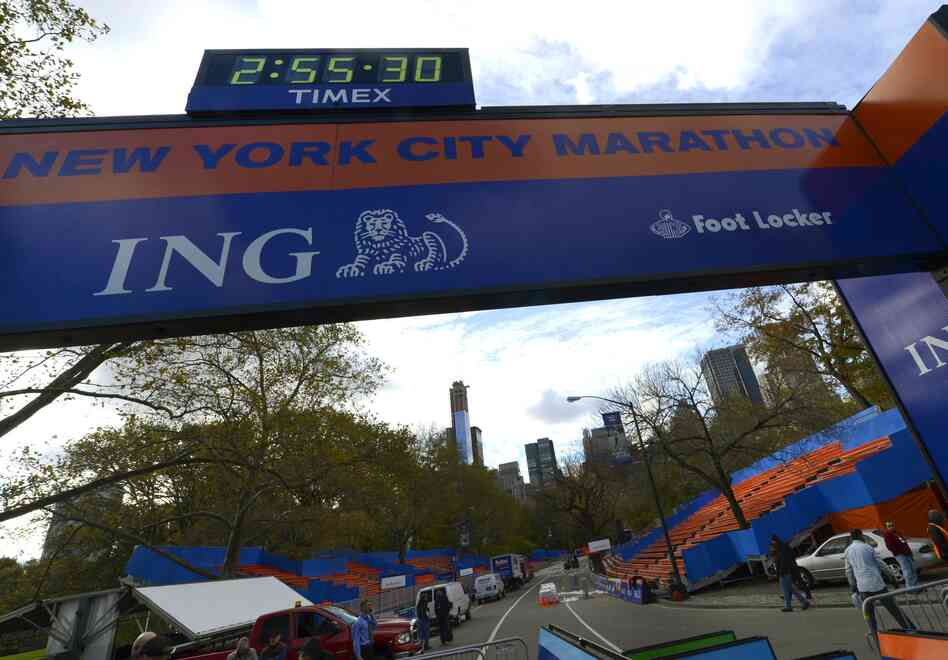 Workers construct the Finish Line on Friday as preparations continue for the 43rd New York City Marathon.