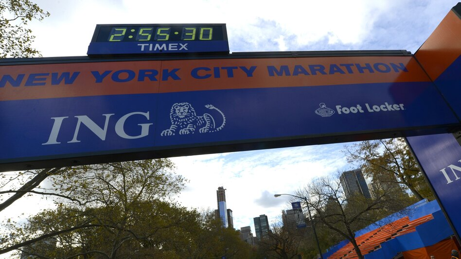 Workers construct the Finish Line on Friday as preparations continue for the 43rd New York City Marathon. (AFP/Getty Images)