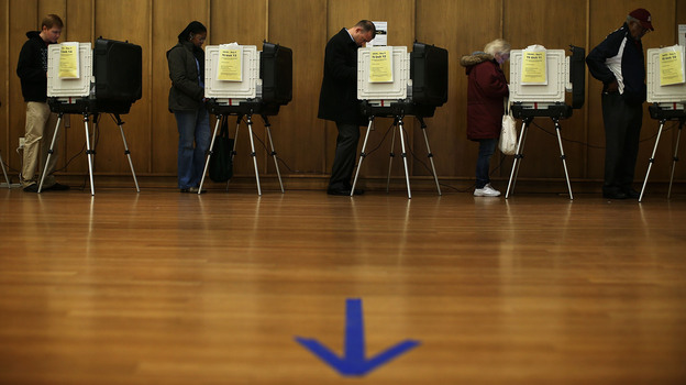Voters participate in early voting Friday in Silver Spring, Md. (Getty Images)