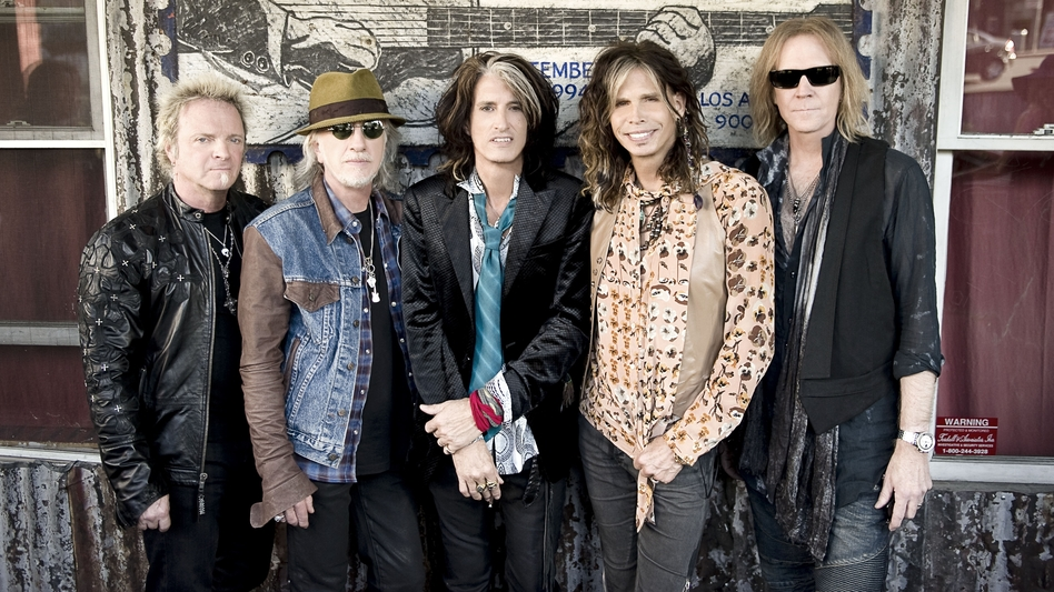 <em>Music From Another Dimension!</em>, Aerosmith's first studio album in over a decade, is out Nov. 6. Left to right: Joey Kramer, Brad Whitford, Joe Perry, Steven Tyler and Tom Hamilton. (Courtesy of the artist)