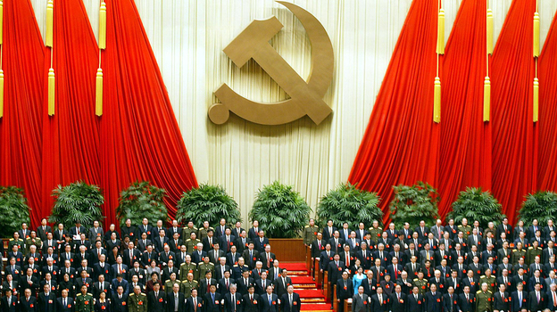 China's Communist Party elite stand at the 16th Party Congress in Beijing in November 2002, the last time the country underwent a sweeping generational change of leadership. A transition is slated to occur again this month. (AFP/Getty Images)