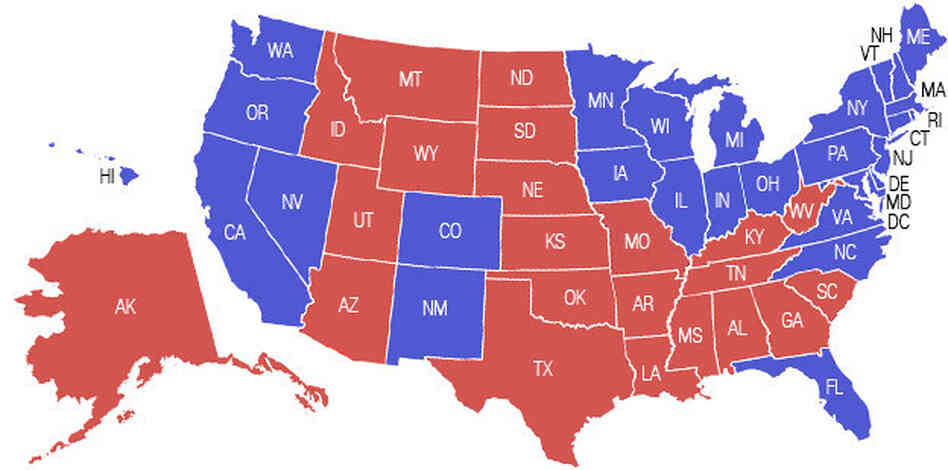 Us Map Of Democratic And Republican States
