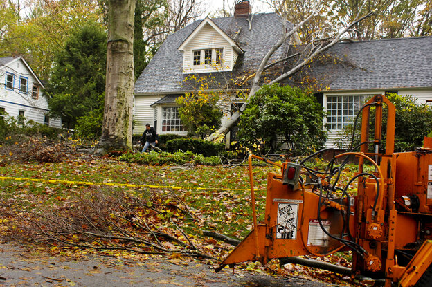 A tree service worker prepares to remove a giant oak tree limb that fell onto the roof of Charles Edamala's home in Elkins Park, Pa., during Superstorm Sandy.