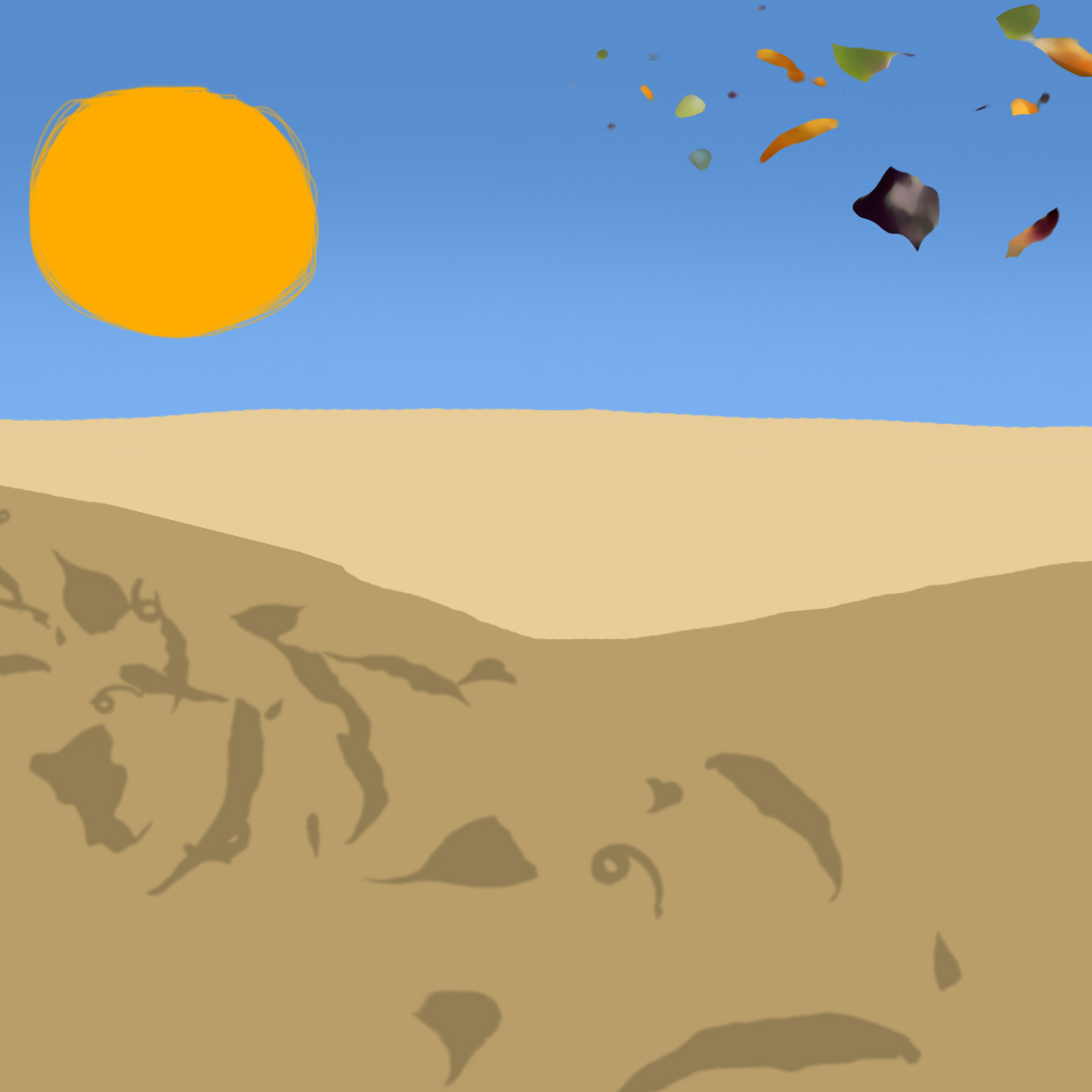 Leaves over desert.