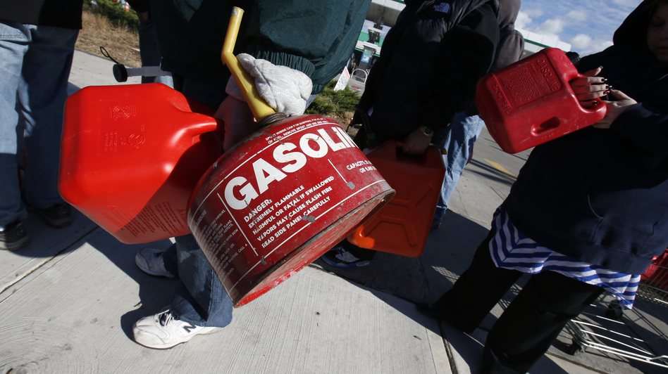 Rather than sit in their cars, many people on Staten Island today lined up at stations with gas cans — hoping to get a few gallons before supplies ran out. (Reuters /Landov)
