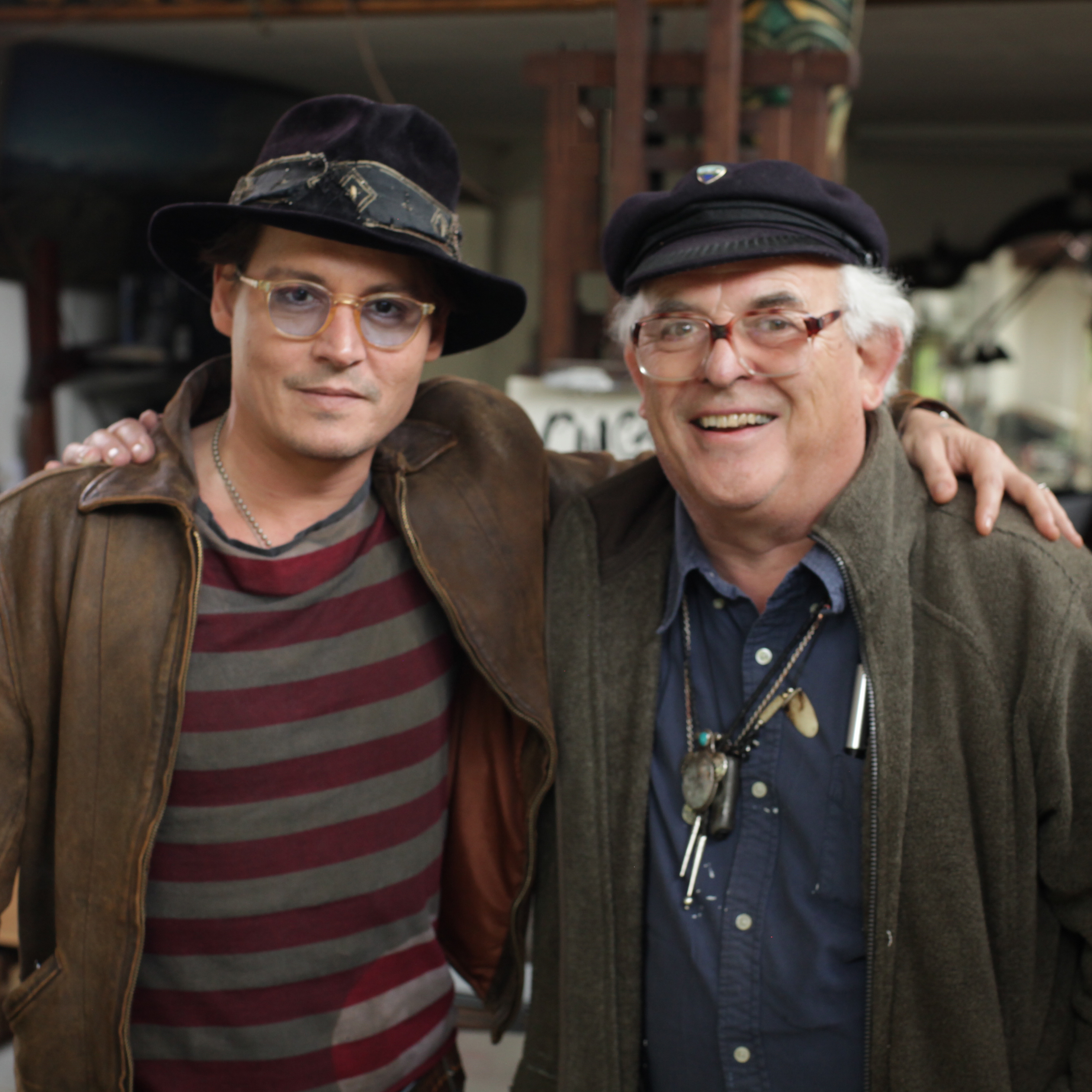 Johnny Depp and Ralph Steadman in Steadman's studio.