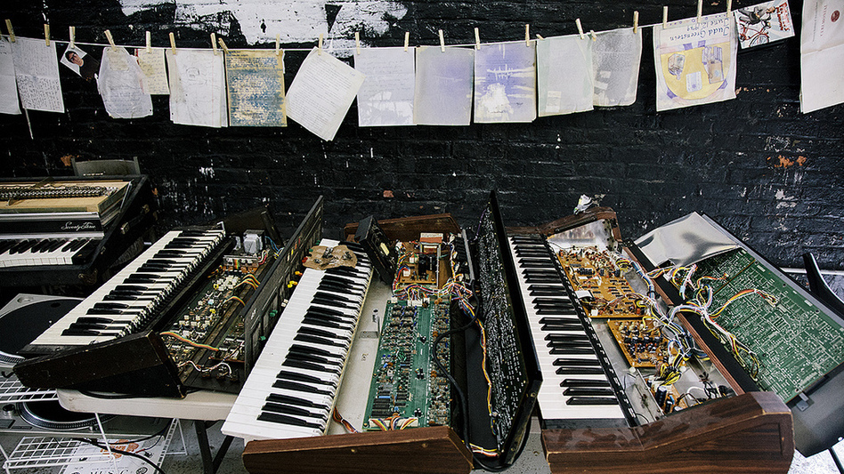 Some of the instruments, scores and other materials the New Amsterdam label is trying to salvage after Sandy. (courtesy of New Amsterdam Records)