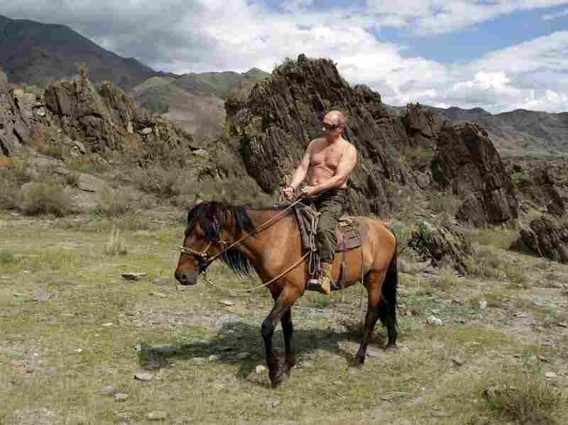 Putin, who was prime minister at the time, rides a horse in southern Siberia's Tuva region on Aug. 3, 2009.