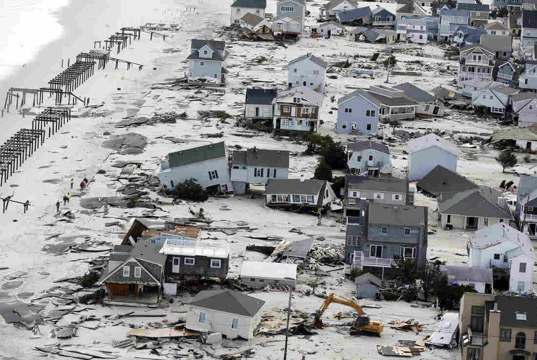 This aerial photo shows destruction in the wake of Superstorm Sandy on Wednesday in Seaside Heights, N.J.
