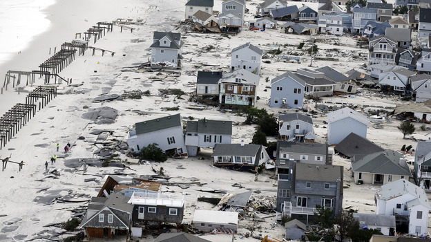 This aerial photo shows destruction in the wake of Superstorm Sandy on Wednesday in Seaside Heights, N.J. (AP)