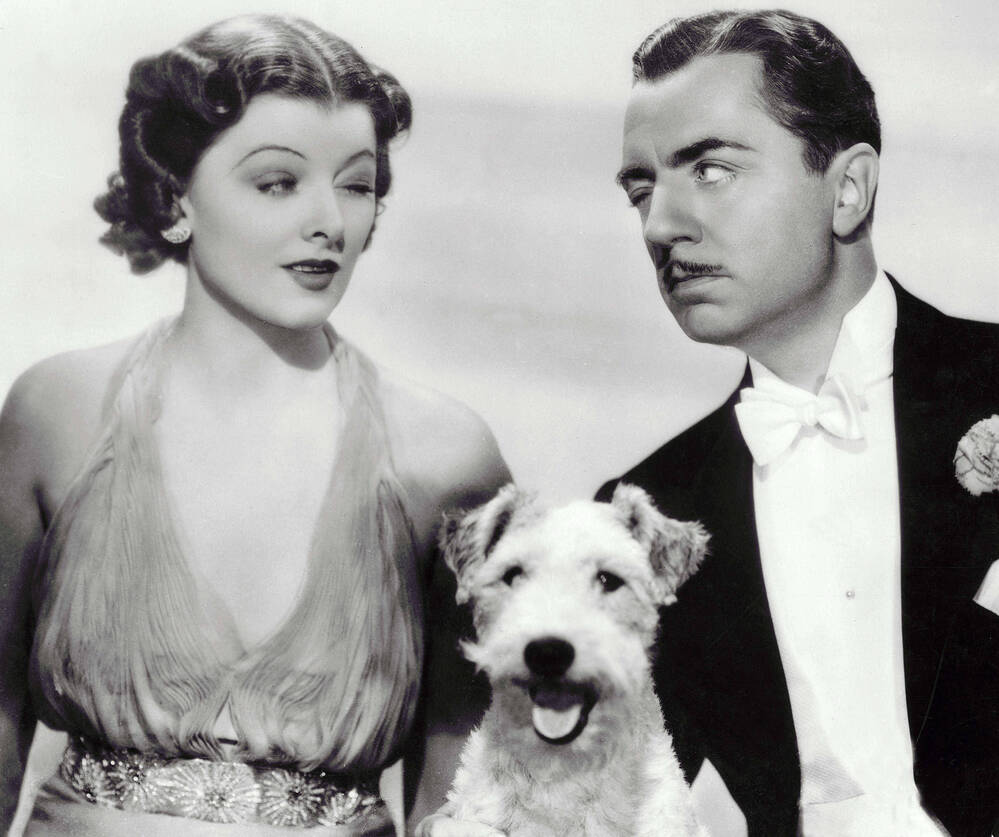 Myrna Loy and William Powell (and a wire-haired terrier) starred as Nick and Nora Charles (and Asta) in the 1934 film adaptation of Dashiell Hammett's The Thin Man.
