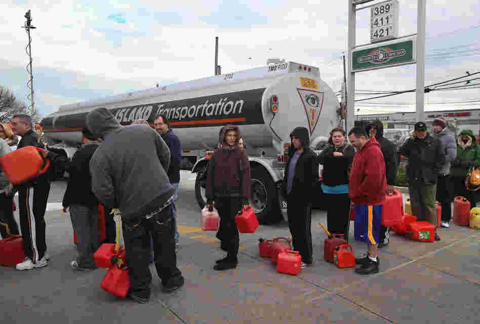 Parts of New York were also suffering fuel shortages, including Staten Island, where long lines for gas were seen on Friday.