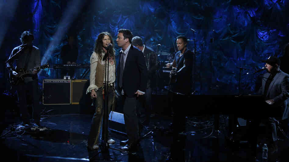 Steven Tyler, Jimmy Fallon, Bruce Springsteen and Billy Joel participate in NBCUniversal's Hurricane Sandy: Coming Together Relief Benefit on Friday in New York City. Mary J. Blige, Christina Aguilera, Jon Bon Jovi and Sting also performed. And now we're done talking about that.