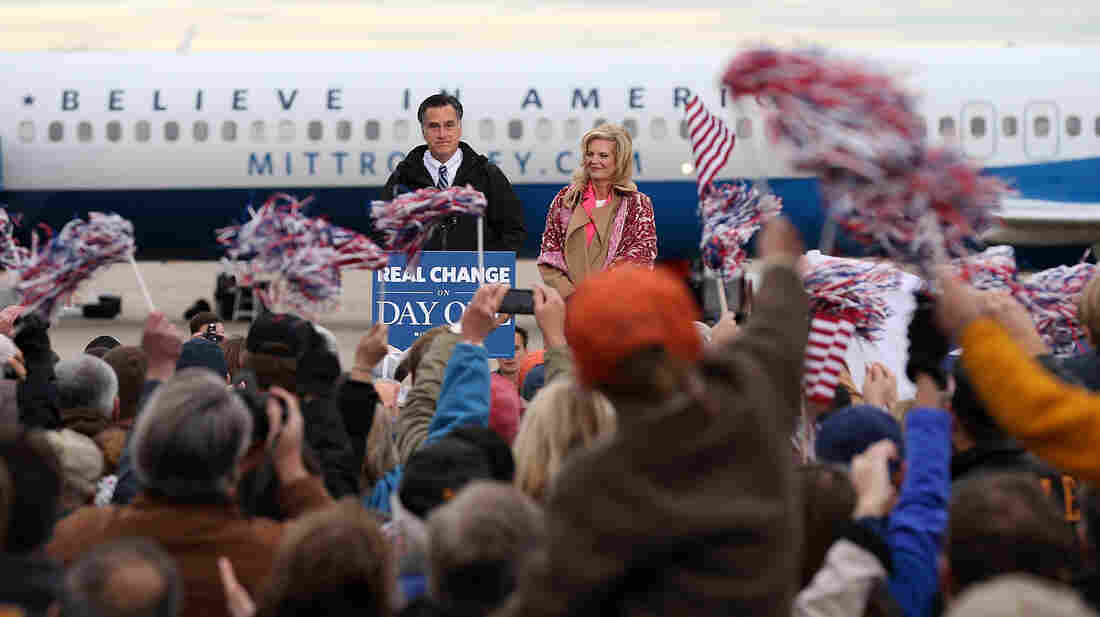 Republican presidential candidate Mitt Romney holds a campaign rally in Newington, N.H., on Saturday.