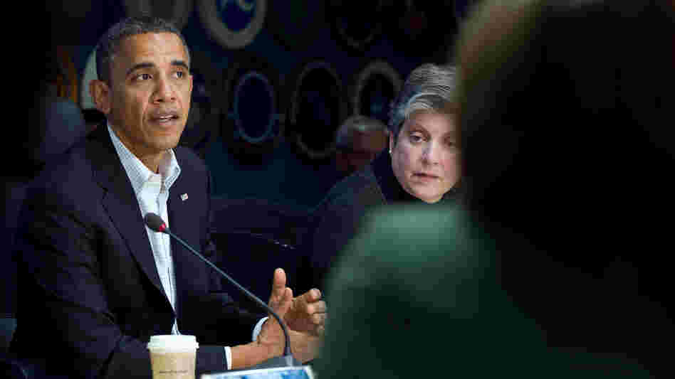 Before hitting the campaign trail Saturday, President Barack Obama attended a briefing on Hurricane Sandy relief efforts with Homeland Security Secretary Janet Napolitano at the Federal Emergency Management Agency's (FEMA) headquarters in Washington, D.C.