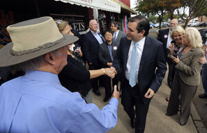 Republican Ted Cruz (center), a candidate for U.S. Senate, greets voters in Mesquite, Texas, last month. Cruz has an 18-point lead over his challenger.
